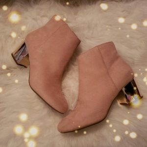 Blush Pink Suede Ankle Boots w/ Rose Gold Heel